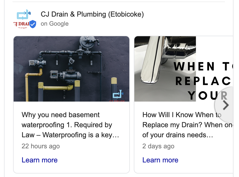 Google listing posts