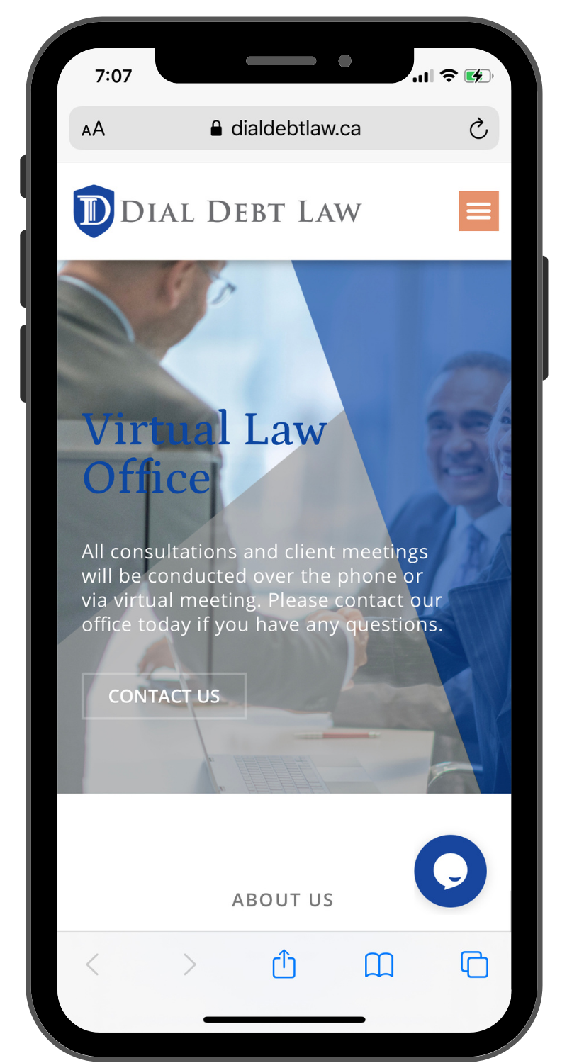 Dial Debt Law Mobile Friendly Website