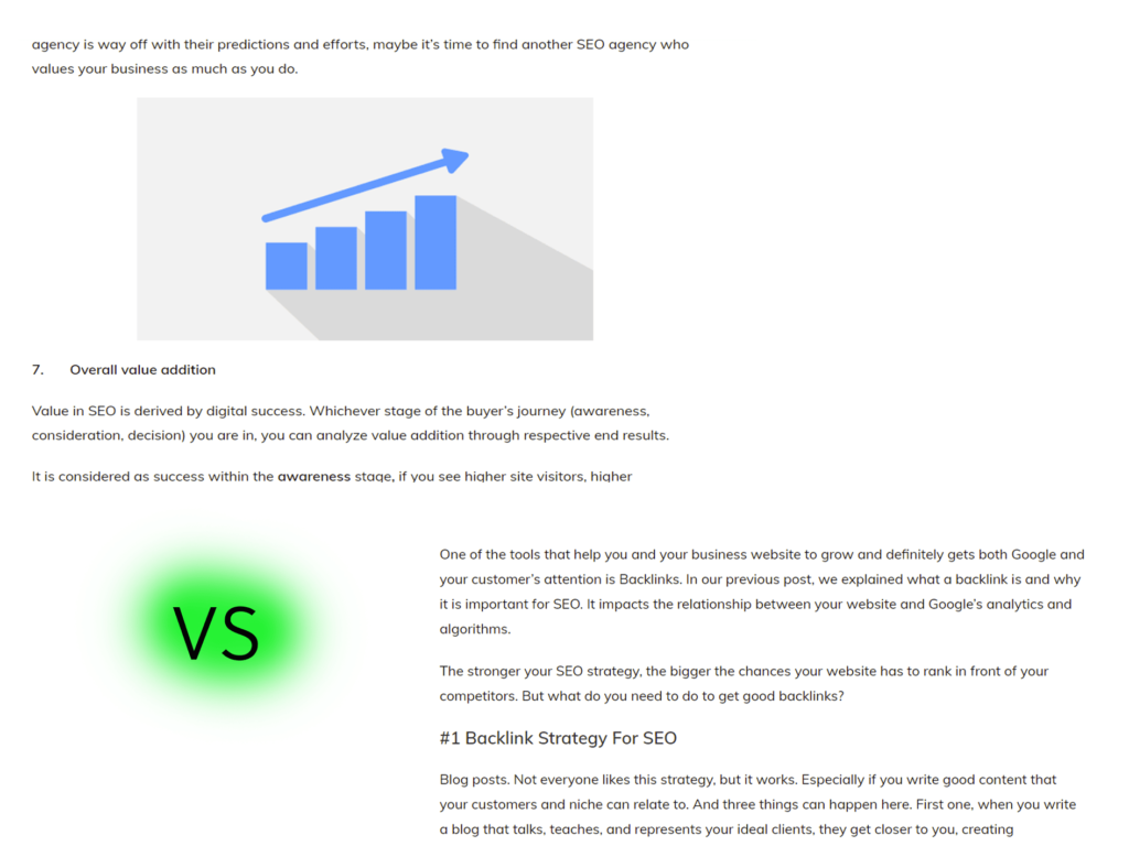 Content with & without images for on-page SEO